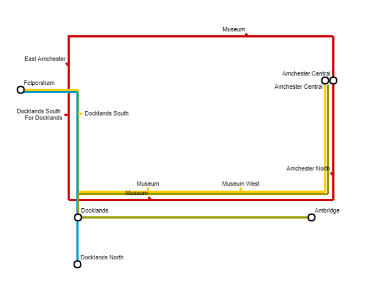 Amchester LEGO City bus network map